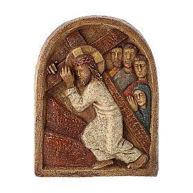 Bassorilievo Gesù porta la croce pietra Bethléem 22x17 cm s1