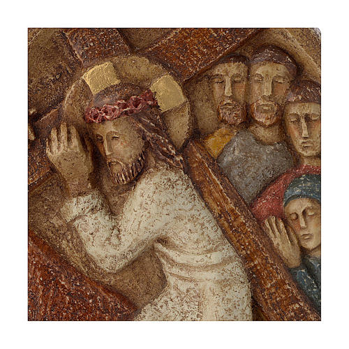 Bassorilievo Gesù porta la croce pietra Bethléem 22x17 cm 2