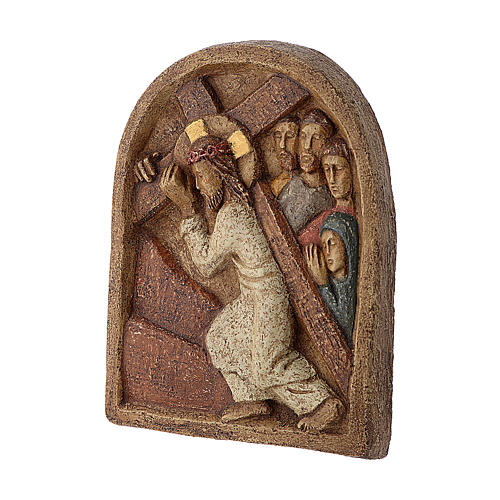 Bassorilievo Gesù porta la croce pietra Bethléem 22x17 cm 3