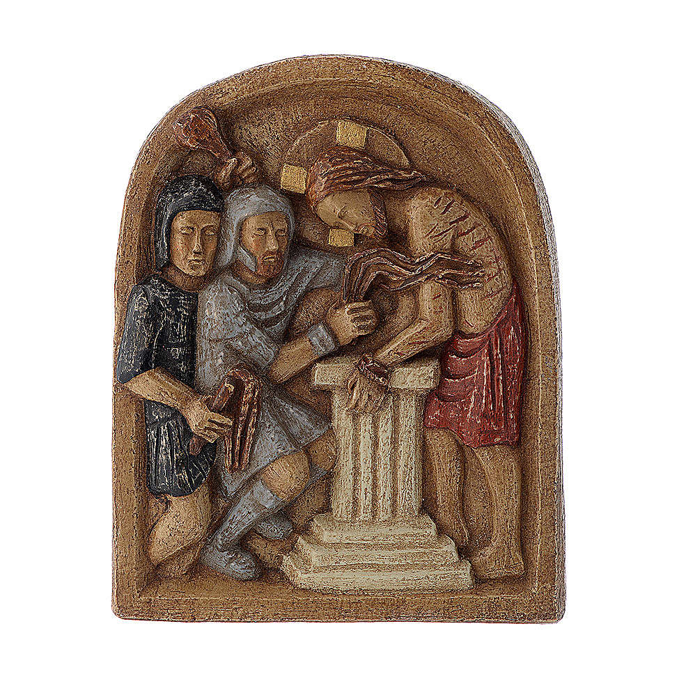 Bajorrelieve Jesús y la columna piedra Belèn 22x17 cm 4
