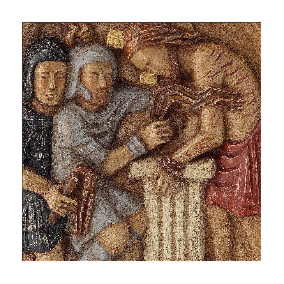 Bassorilievo Gesù alla colonna pietra Bethléem 22x17 cm 4