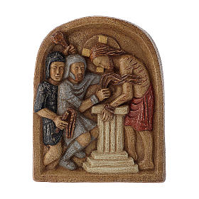 Bassorilievo Gesù alla colonna pietra Bethléem 22x17 cm s1