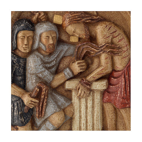 Bassorilievo Gesù alla colonna pietra Bethléem 22x17 cm 2