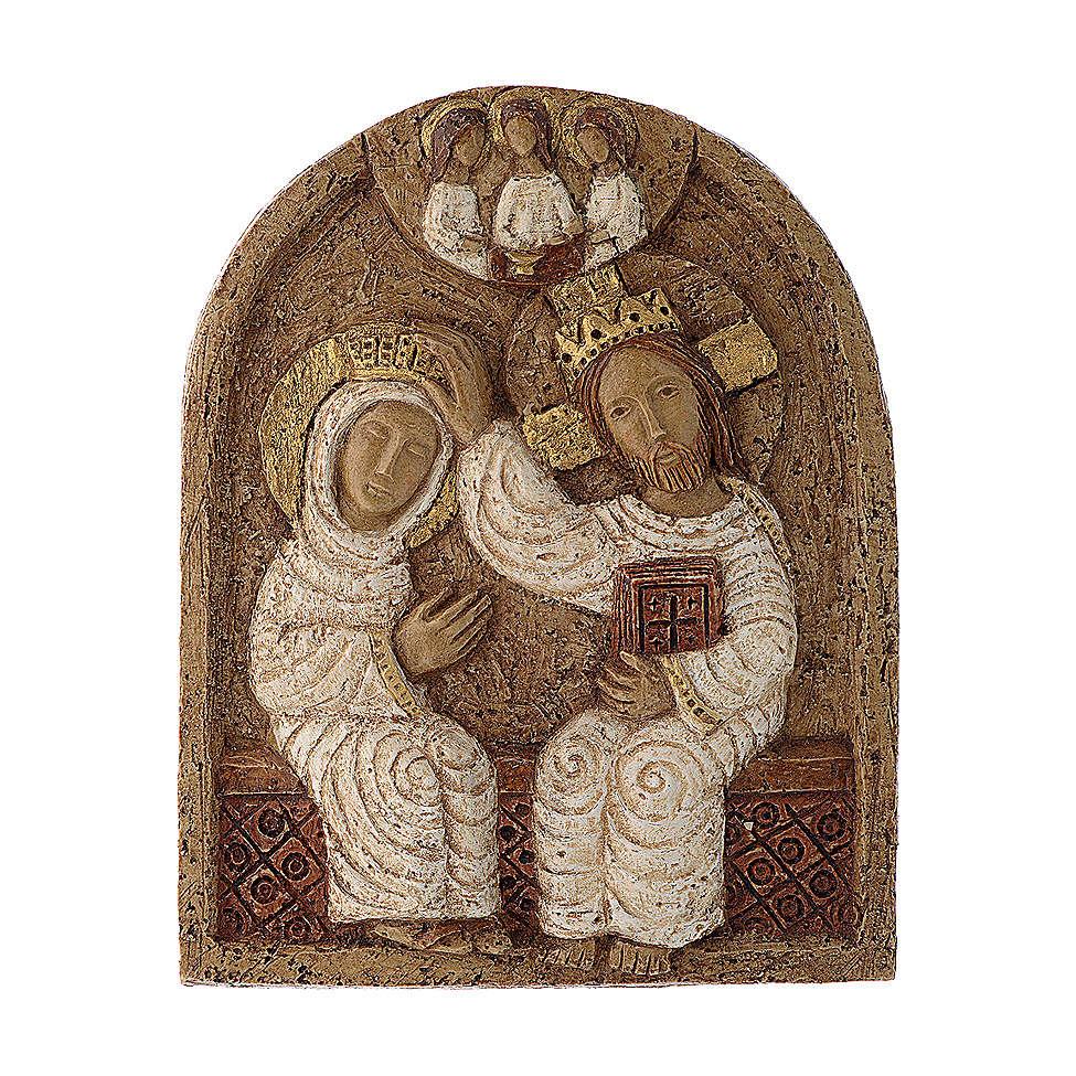Bajorrelieve Coronación de María piedra Belèn 22x17 cm 4