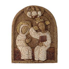 Bajorrelieve Coronación de María piedra Belèn 22x17 cm s1
