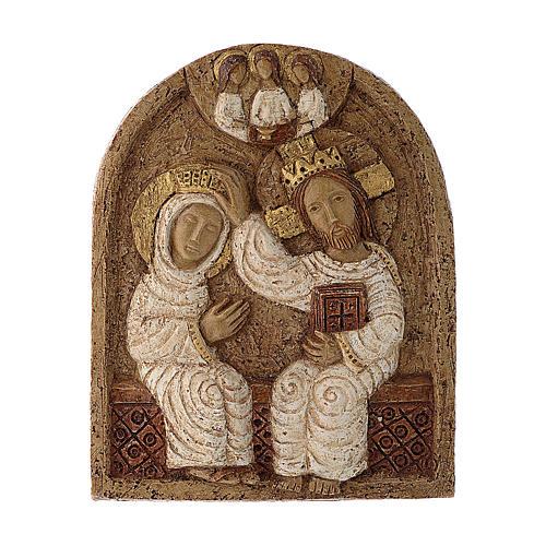 Bajorrelieve Coronación de María piedra Belèn 22x17 cm 1