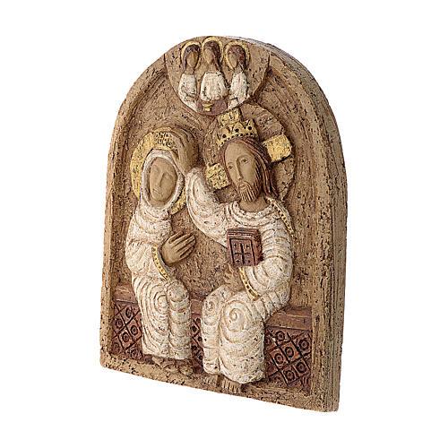 Bajorrelieve Coronación de María piedra Belèn 22x17 cm 3