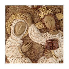 Bas-relief Couronnement de Marie pierre Bethléem 22x17 cm s2