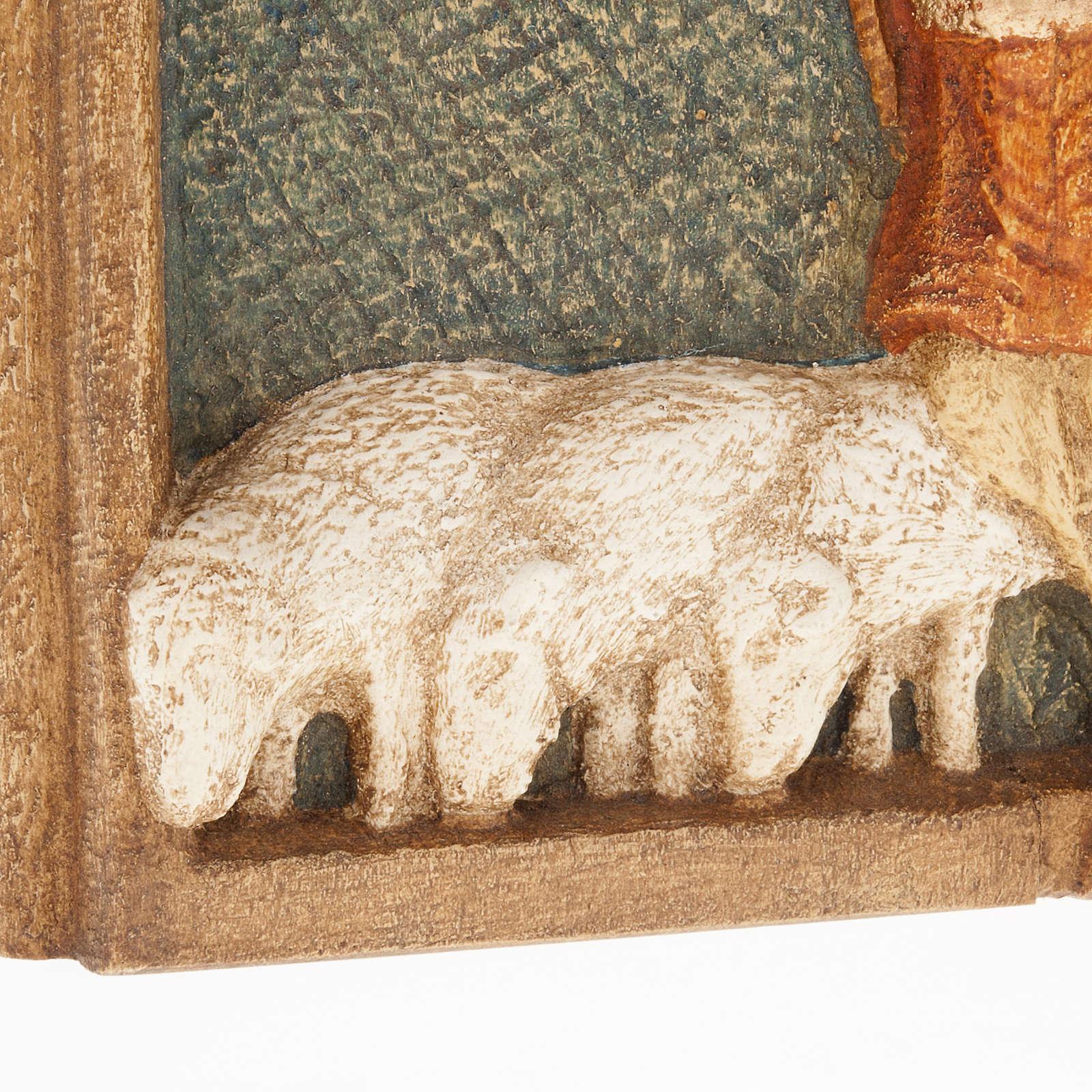Bajorrelieve de pastores Pesebre de otoño de madera pintada 4