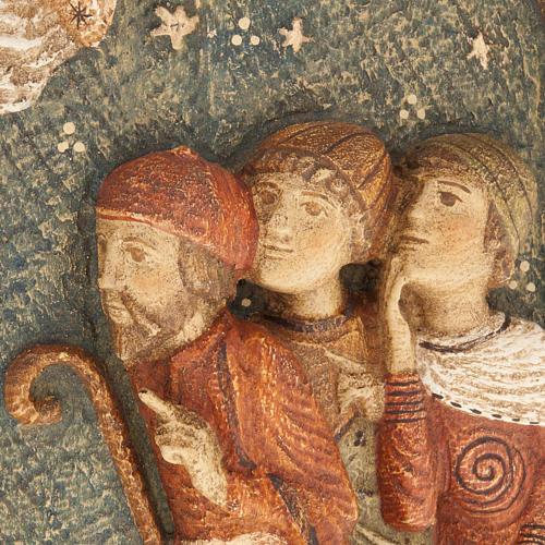 Bajorrelieve de pastores Pesebre de otoño de madera pintada 3