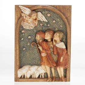 Crèches Monastère de Bethléem: Bas relief bergers Crèche d'Autun bois peint