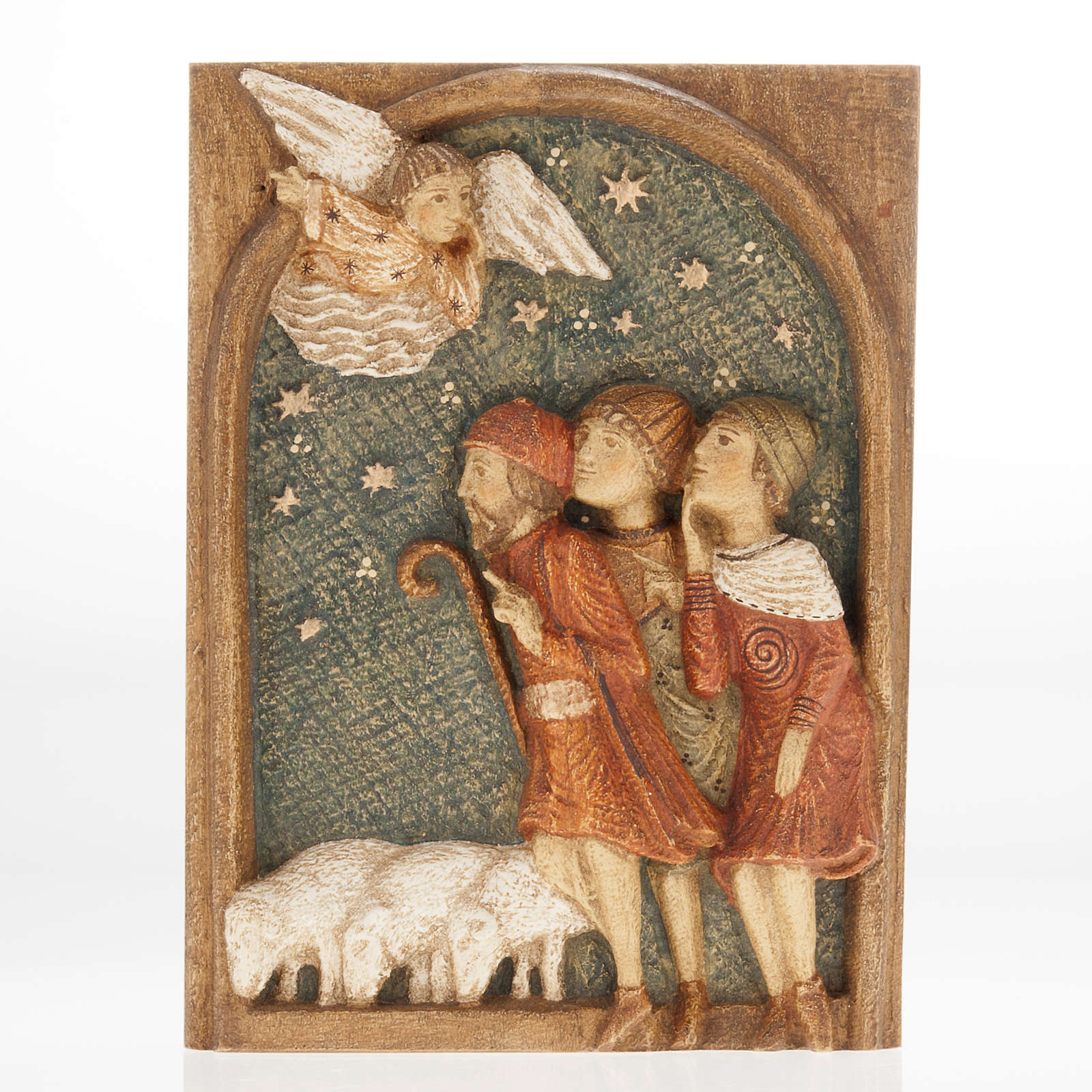 Shepherds Bas-relief Autumn crib painted wood 4