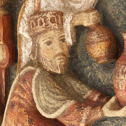 Bajorrelieve tres Reyes Magos Pesebre de otoño de madera pintada 2
