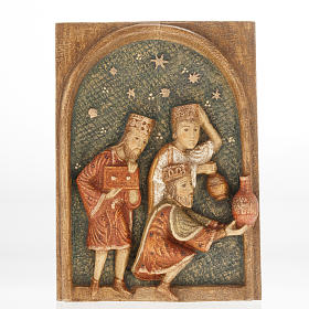 Bassorilievo Re Magi Presepe d'Autunno legno dipinto s1