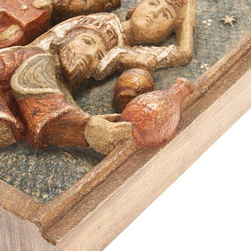 Bassorilievo Re Magi Presepe d'Autunno legno dipinto 4