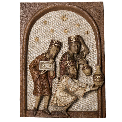 Relief Trzej Królowie kamień Duża Szopka z Autun Bethleem 1