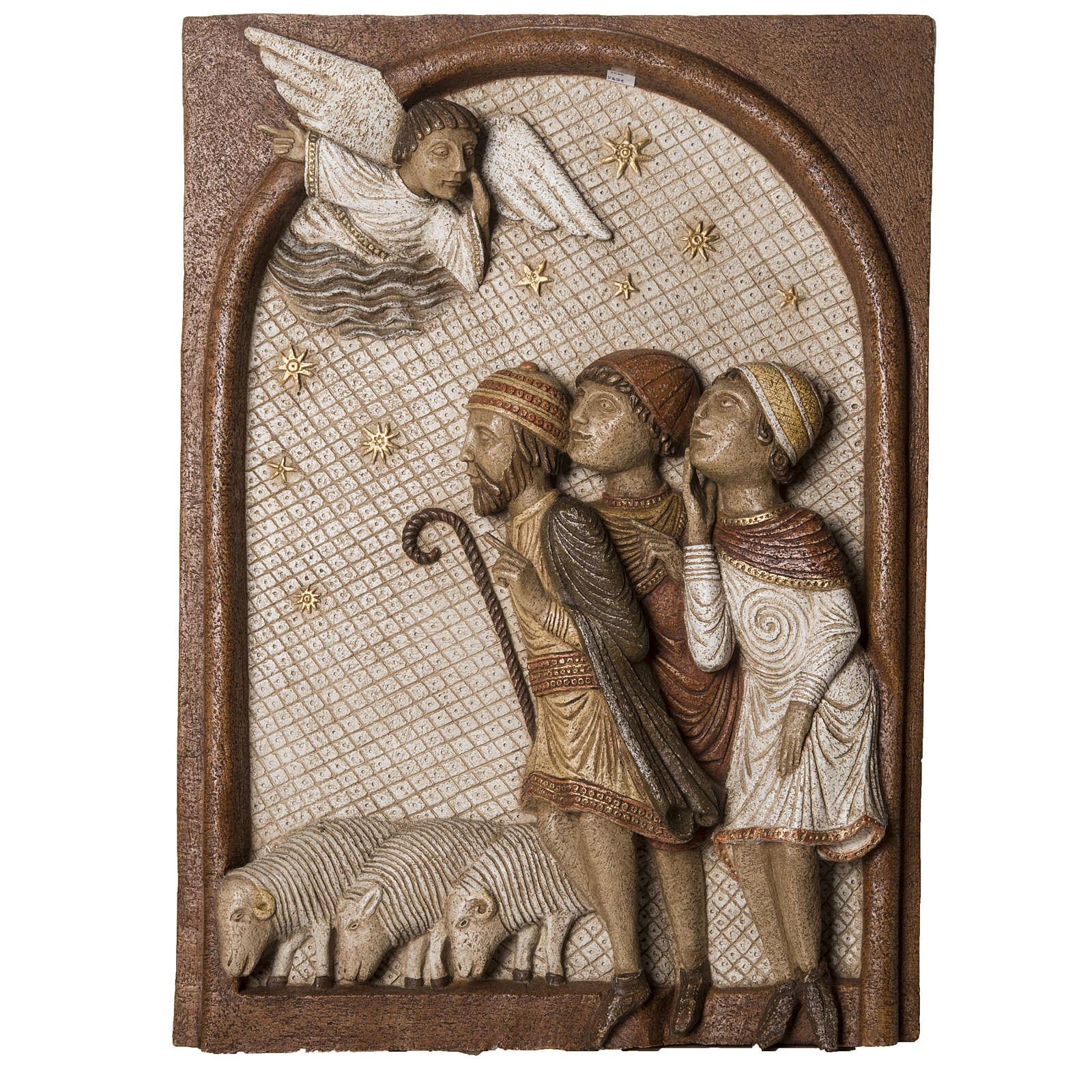 Big Autumn Crib Shepherds bas relief in stone Bethléem 4