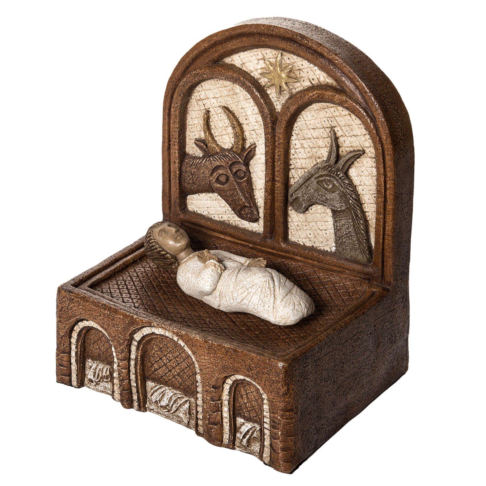 Żłóbek i Jezus kamień Duża Szopka z Autun Bethleem 4