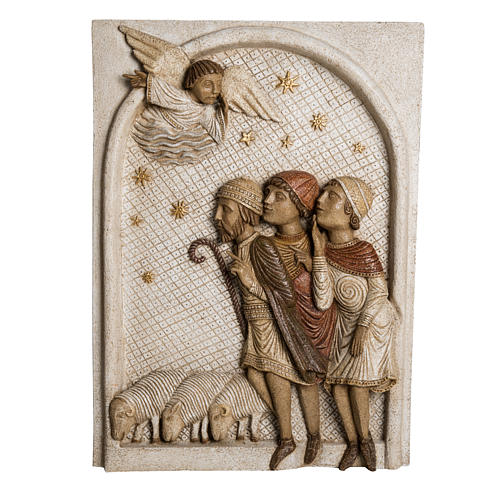 Big Autumn Nativity Scene shepherds bas relief in stone Bethleem 1
