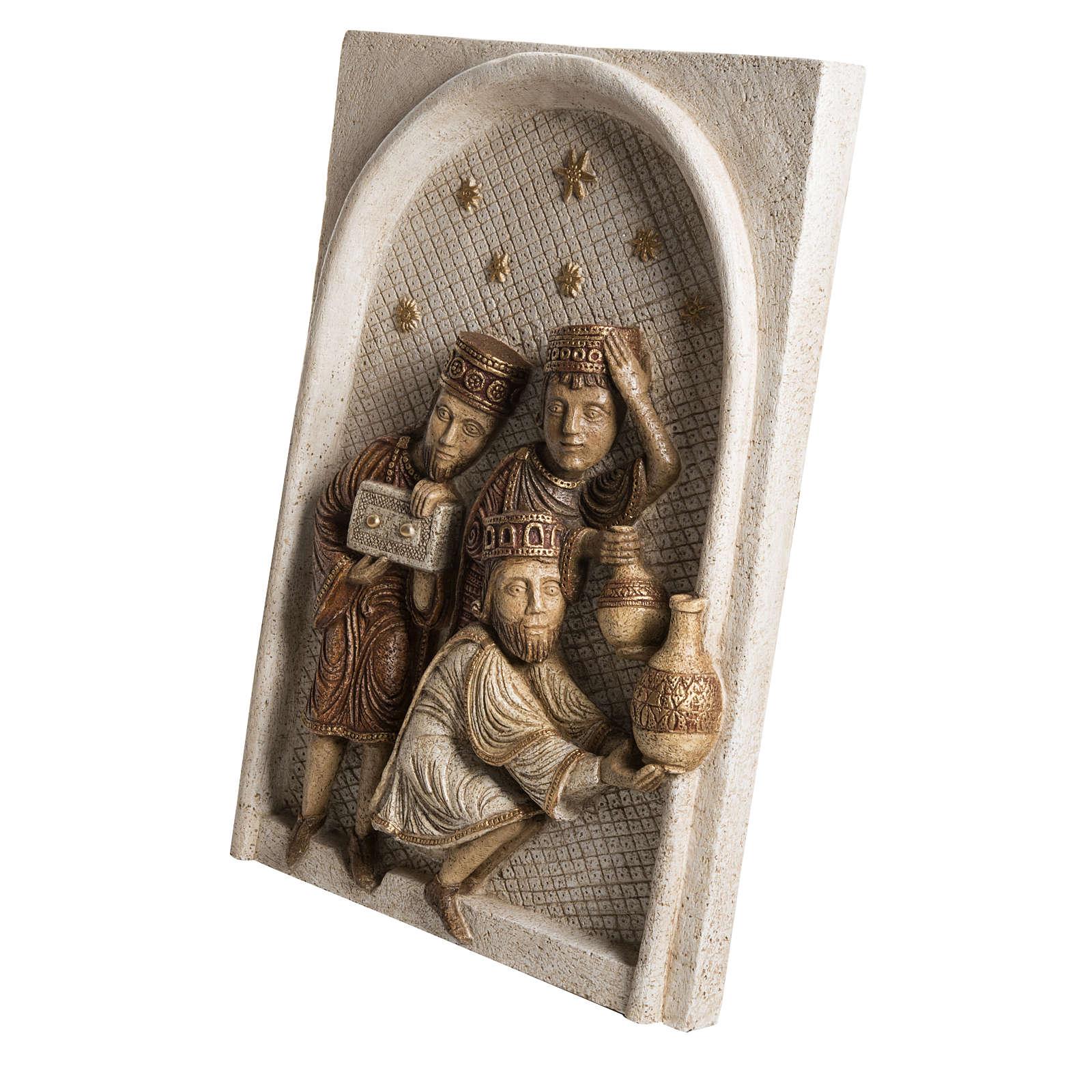 Relief Heilige Könige Große Herbstkrippe Bethleem weiß 4