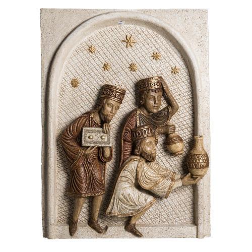 Relief Heilige Könige Große Herbstkrippe Bethleem weiß 1