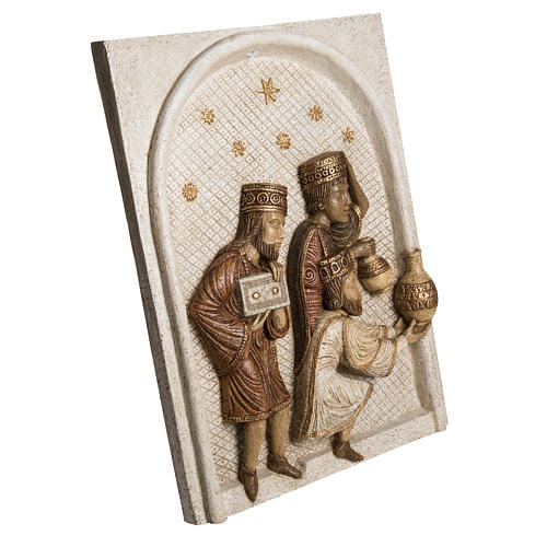 Relief Heilige Könige Große Herbstkrippe Bethleem weiß 2