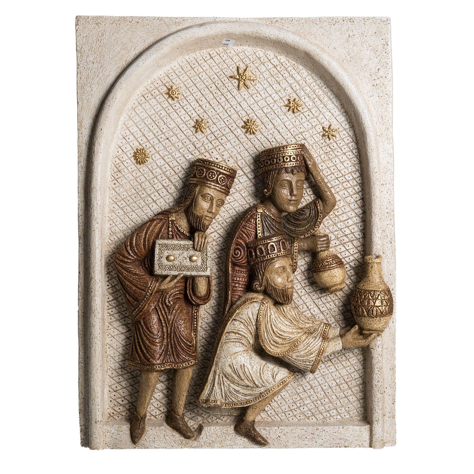 Rilievo Magi pietra Bethléem Gran Presepe Autunno bianco 4