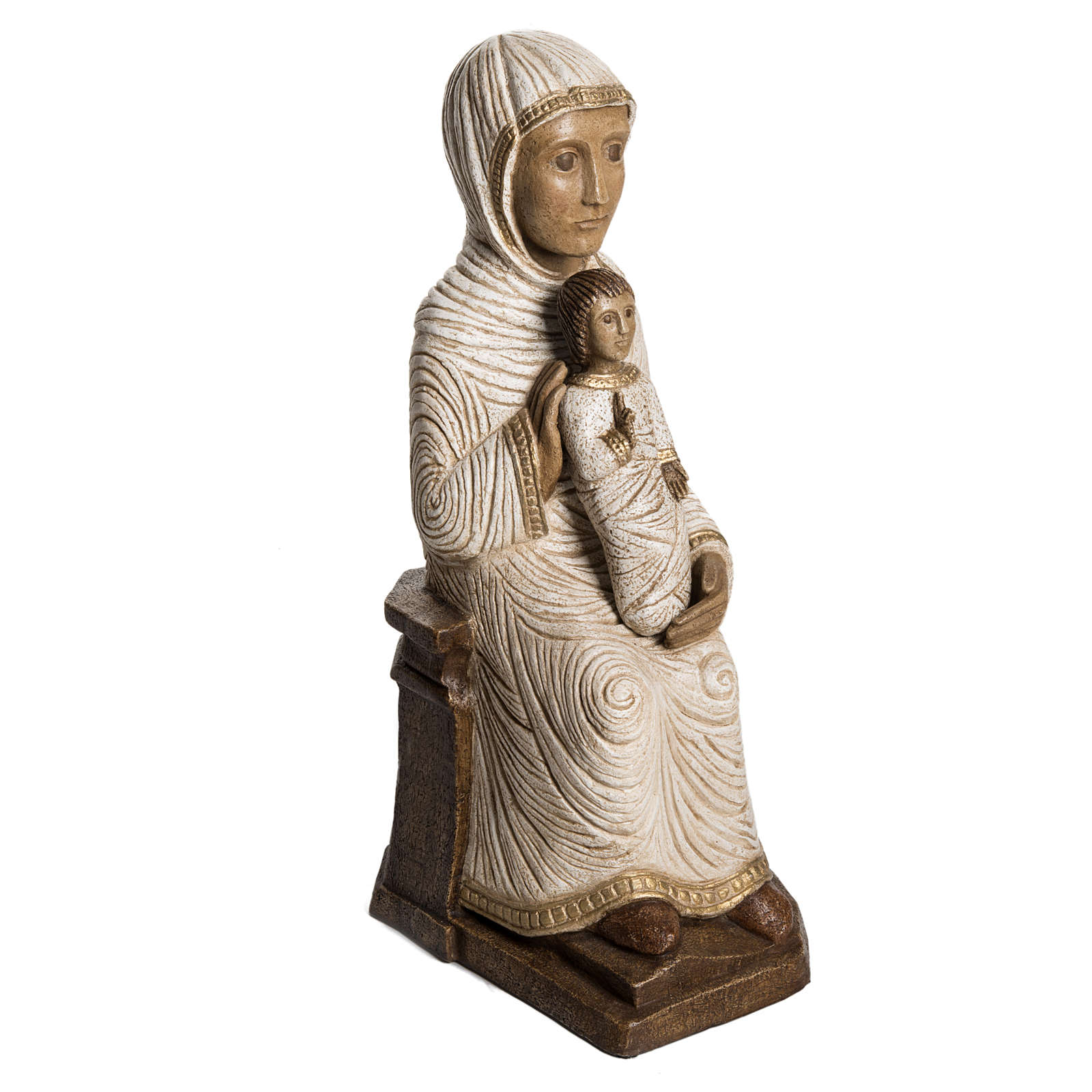 Vierge enfant grande crèche d'autun pierre blanche Bethéem 4