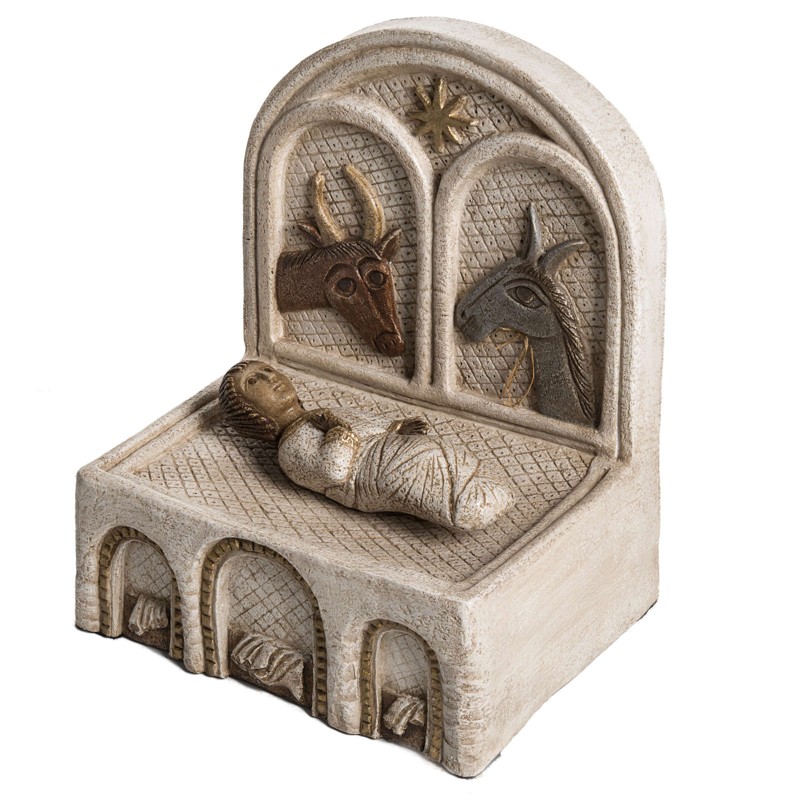 Mangiatoia e Gesù pietra Bethléem Gran Presepe Autunno bianco 4