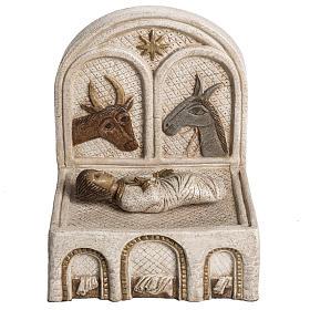 Mangiatoia e Gesù pietra Bethléem Gran Presepe Autunno bianco s1