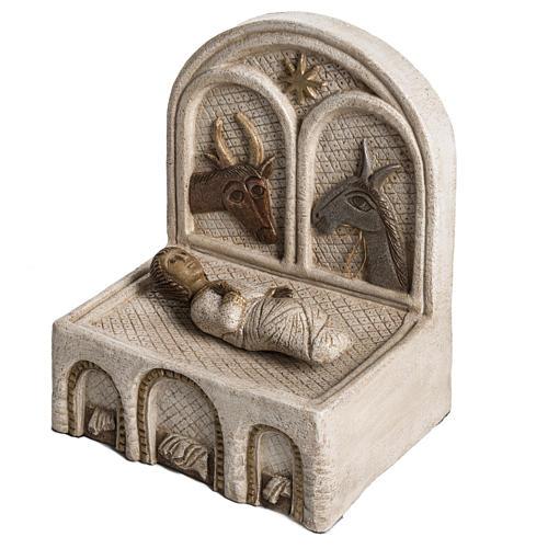 Mangiatoia e Gesù pietra Bethléem Gran Presepe Autunno bianco 3