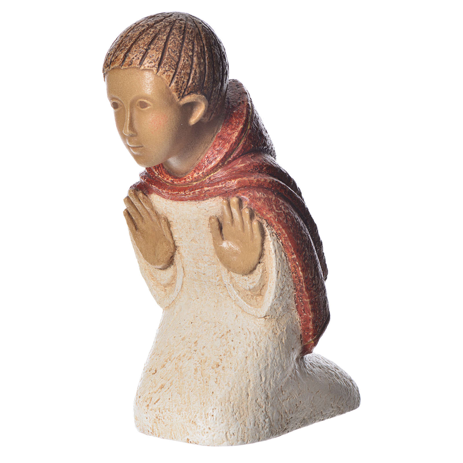 Shepherd in contemplation, red dress, rural crèche 4