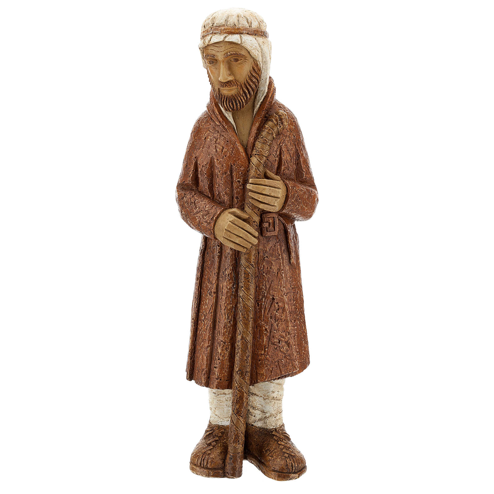 Standing shepherd with stick in sienna, farming nativity collection 4