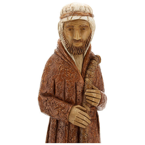 Standing shepherd with stick in sienna, farming nativity collection 2
