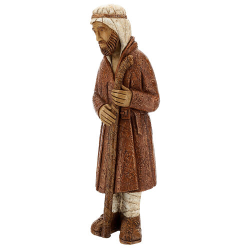 Standing shepherd with stick in sienna, farming nativity collection 3