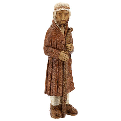 Standing shepherd with stick in sienna, farming nativity collection 5