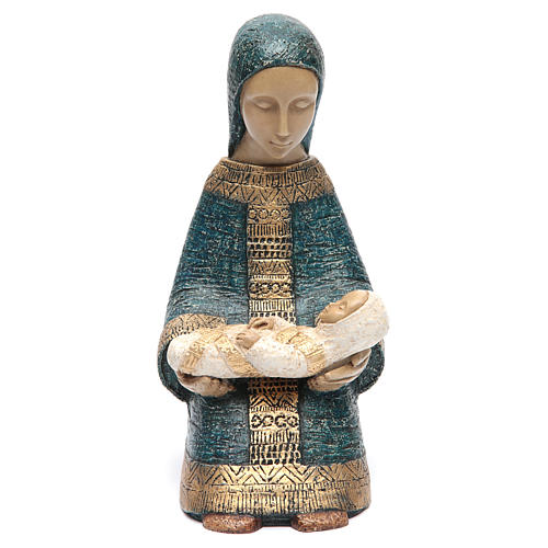The Virgin Mary with Baby Jesus farmer Nativity blue 1