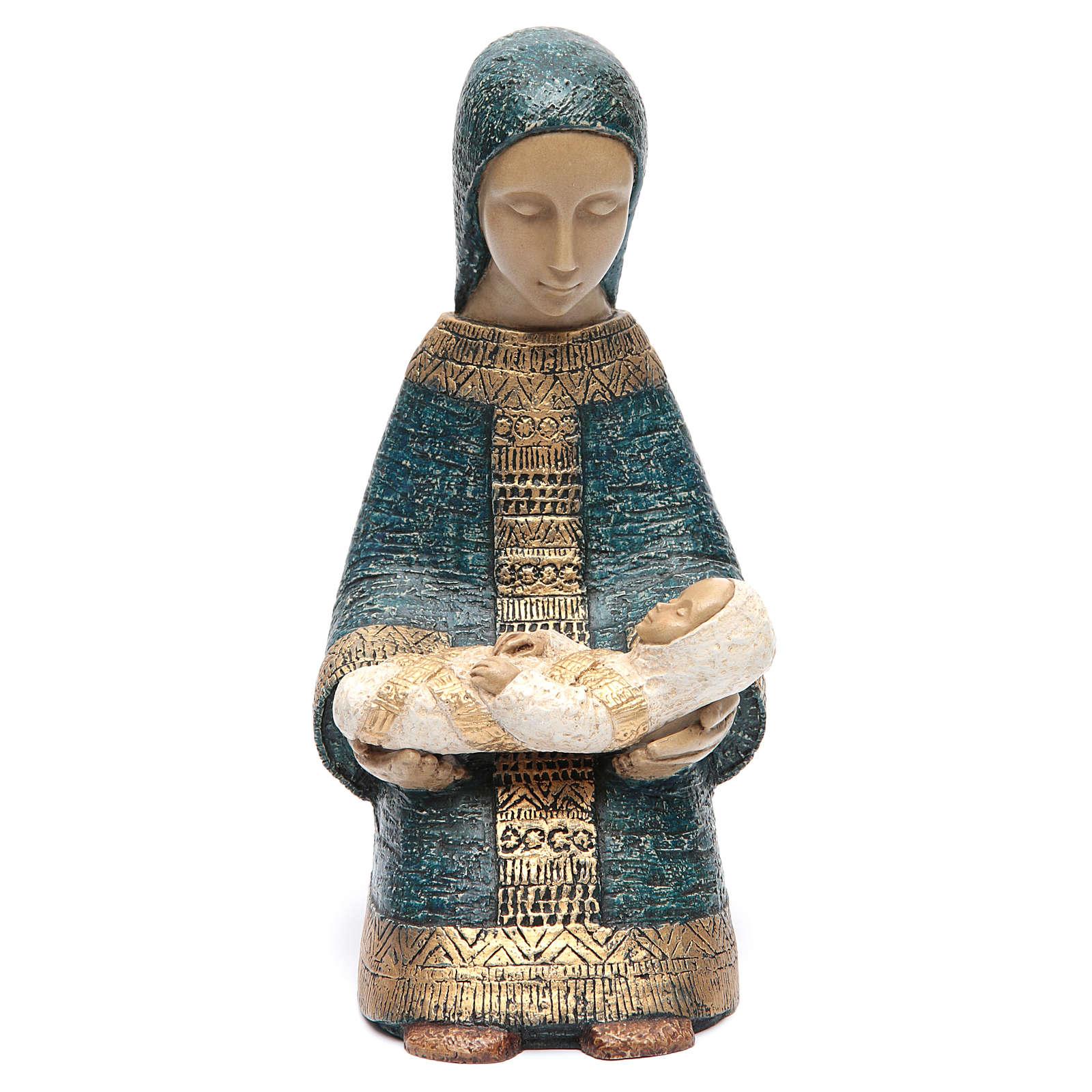 Vierge à l'enfant Nativité paysanne bleu 4