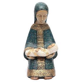 Vierge à l'enfant Nativité paysanne bleu s1