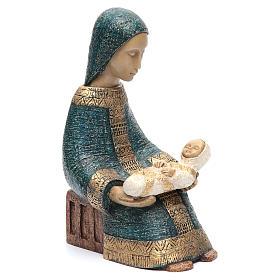 Vierge à l'enfant Nativité paysanne bleu s4
