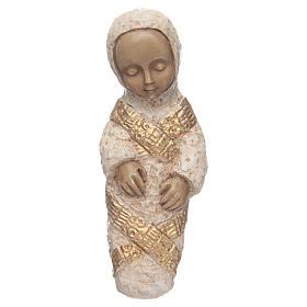 Vierge à l'enfant Nativité paysanne bleu s6