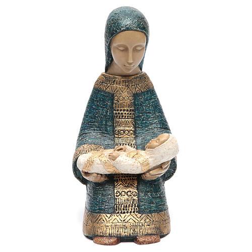 Vierge à l'enfant Nativité paysanne bleu 1
