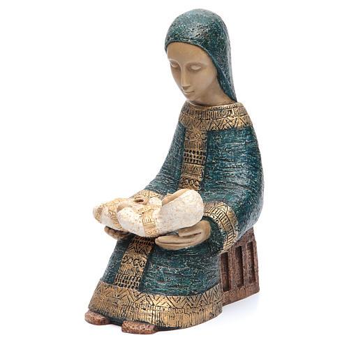 Vierge à l'enfant Nativité paysanne bleu 2