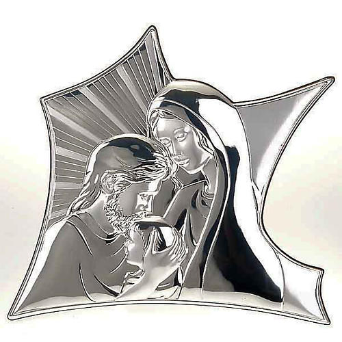 Silver Bas Relief Mary and Joseph embracing Jesus 1