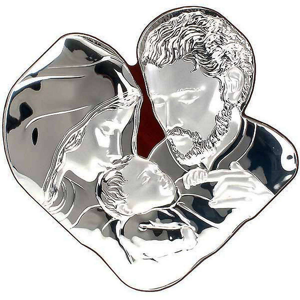 Silver Bas Relief Holy family- Joseph hugs Jesus 4
