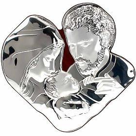 Silver Bas Relief Holy family- Joseph hugs Jesus s1