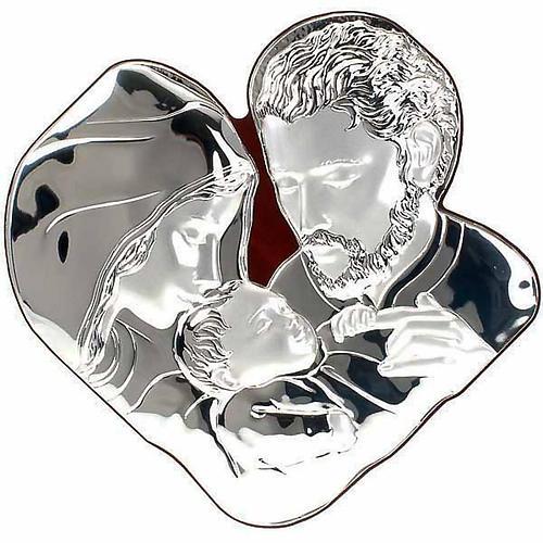Silver Bas Relief Holy family- Joseph hugs Jesus 1
