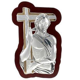 Bassorilievo bilaminato oro arg. Gesù con croce irregolar s1
