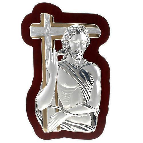 Bassorilievo bilaminato oro arg. Gesù con croce irregolar 1