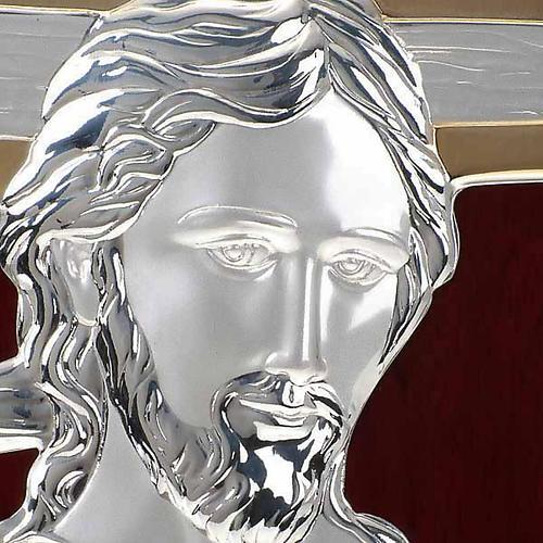 Bassorilievo bilaminato oro arg. Gesù con croce irregolar 3